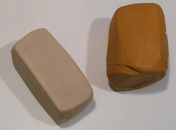 White clay and terra-cotta clay